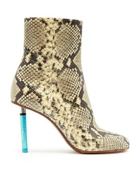 Python Effect Lighter Heel Leather Ankle Boots by Matches Fashion