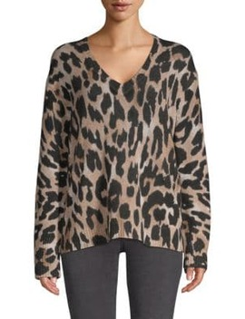 Geraldine Leopard Cashmere Sweater by 360 Cashmere