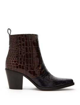 Callie Crocodile Effect Patent Leather Ankle Boots by Matches Fashion