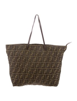 Leather Trimmed Zucca Tote by Fendi