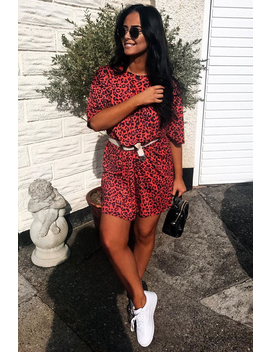 Red Leopard Print Oversized Shift Dress   Dayle by Rebellious Fashion