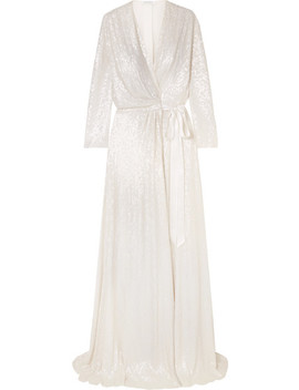 Sophia Satin Trimmed Sequined Silk Wrap Gown by Jenny Packham