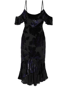 Cold Shoulder Embroidered Chiffon Dress by Marchesa Notte