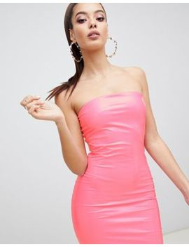 Asos Design Pu Bandeau Bodycon Midi Dress by Asos Design