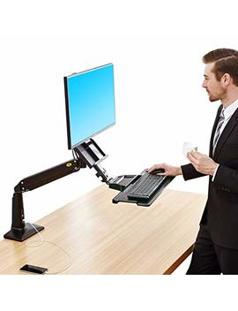 North Bayou Sit Stand Desk Converter Height Adjustable Standing Desk Workstation For 22'' 35'' Monitor Computer Monitor Mount Arm With Keyboard Tray Black by Nb North Bayou