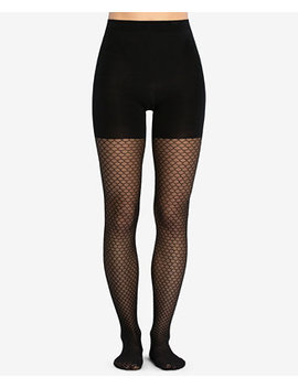Honeycomb Fishnet Mid Thigh Shaping Tights by Spanx