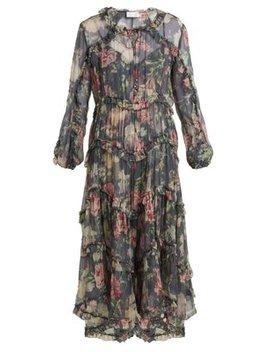 Iris Floral Print Sheer Silk Dress by Matches Fashion