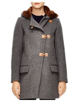 Matteo Sheep Shearling Trimmed Coat by Sandro