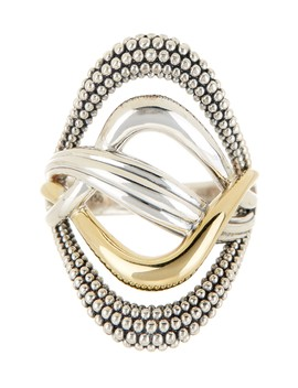 18 K Gold & Sterling Silver Unlaced Large Oval Ring   Size 7 by Lagos