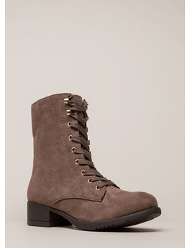 Fired Up Faux Suede Combat Boots by Go Jane