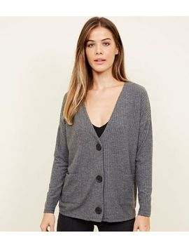 Dark Grey Brushed Ribbed Button Cardigan by New Look