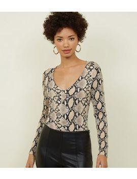 Light Grey Snake Print Bodysuit by New Look