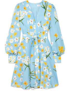 Belted Floral Print Silk Mini Dress by Andrew Gn