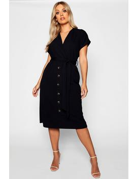 Plus Belted Button Down Midi Dress by Boohoo