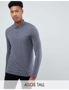 Asos Design Tall Long Sleeve Pique Polo With Button Down Collar In Grey by Asos Design