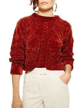 Chenille Cable Sweater by Topshop