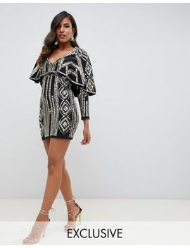 Starlet All Over Cape Detail Plunge Front Mini Dress In Gold by Starlet