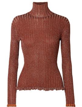 Ribbed Silk Blend Lurex Turtleneck Sweater by Chloé