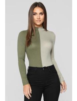 Split Personality Bodysuit   Olive/Combo by Fashion Nova
