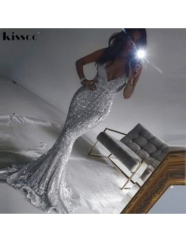 Sexy Stretch Silver Sequin Maxi Dress Hollow Out Floor Length Summer Party Dress Padded V Neck Backless Mermaid Dress by Kisscc