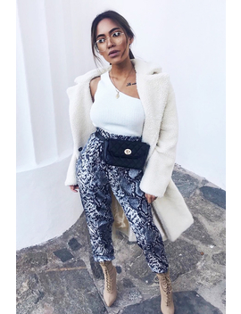 Grey Snake Print Tie Waist Cuffed Trousers   Annica by Rebellious Fashion