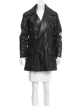 Leather Double Breasted Coat by Roberto Cavalli