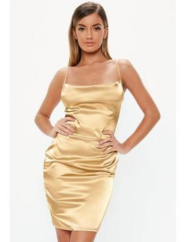 Tall Gold Satin Cowl Neck Mini Dress by Missguided