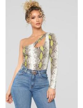 Slithering Snake Bodysuit   Lime/Multi by Fashion Nova
