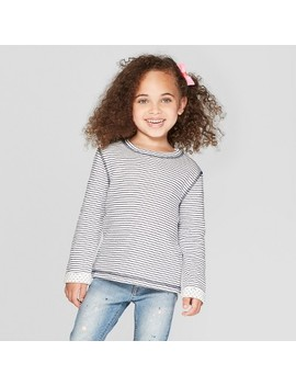 Toddler Girls' Long Sleeve Striped T Shirt   Cat & Jack™ Blue by Cat & Jack