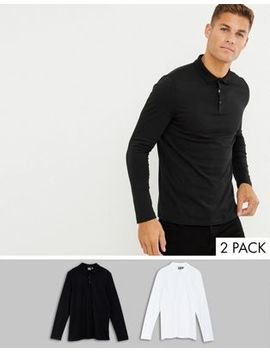 Asos Design Long Sleeve Jersey Polo 2 Pack Save by Asos Design