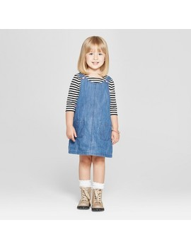Toddler Girls' 2pc Long Sleeve T Shirt And Overall Set   Cat & Jack™ White Striped/Blue Denim by Cat & Jack