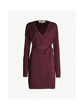 V Neck Stretch Knit Wrap Dress by Diane Von Furstenberg