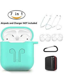 Air Pods Case 7 In 1 Airpods Accessories Kits Protective Silicone Cover And Skin For Apple Airpods Charging Case With Airpods Ear Hook Airpods Staps/Airpods Clips/Skin/Tips/Keychain Green By Amasing by Amasing