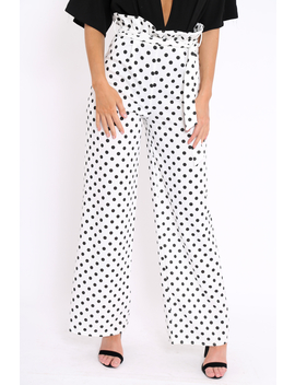 Polka Dot Paper Bag Tie Waist Wide Leg Trousers   Kennedy by Rebellious Fashion