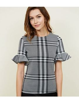 Black Check Frill Sleeve T Shirt by New Look