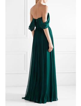 Off The Shoulder Pleated Silk Chiffon Gown by Jason Wu