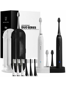 Aqua Sonic Duo   Dual Handle Ultra Whitening Electric Tooth Brushes   40,000 Vpm Motor & Wireless Charging   3 Modes With Smart Timers   10 Du Pont... by Pure Daily Care