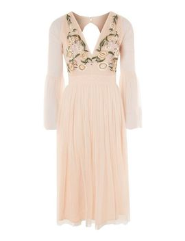 **Pyper Embroidered Mesh Skater Dress By Lace & Beads by Topshop