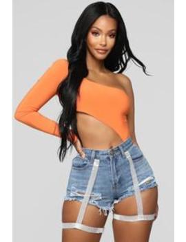 Cutting You Off Long Sleeve Bodysuit   Orange by Fashion Nova