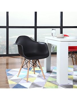 Modern Set Of 2 Eames Style Armchair Natural Wood Legs In Color White, Black And Red (Black) by Divano Roma Furniture