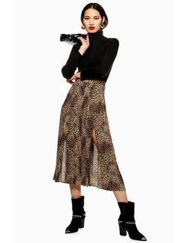Leopard Print Box Pleat Midi Skirt by Topshop