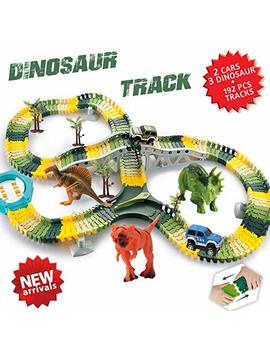 Homofy Dinosaur Toys 192 Pcs Race Car Flexible Track Sets Jurassic World 3 Dinosaurs,2 Military Vehicles,4 Trees,1 Turntable,2 Slopes,3 For 2 3 4 Year Old Girls And Boys (Trademark Protected) by Homofy