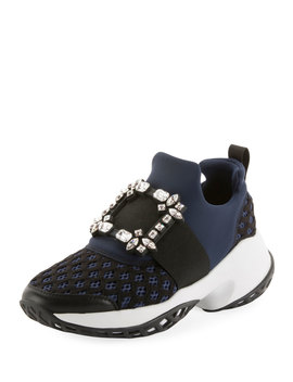 Running Strass Buckle Stretch Sneakers by Neiman Marcus