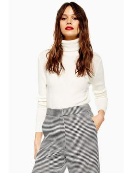 Cropped Roll Neck Jumper With Cashmere by Topshop