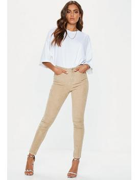 Stone Denim Cord Skinny Jeans by Missguided