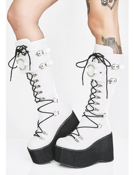 Bleached Riot Zone O Ring Platform Boots by Demonia
