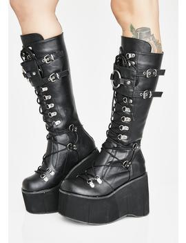 Riot Zone O Ring Platform Boots by Demonia