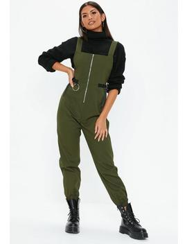 Khaki Utility Dungaree Jumpsuit by Missguided