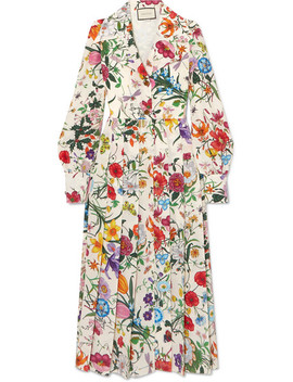 Pleated Floral Print Silk Crepe De Chine Dress by Gucci