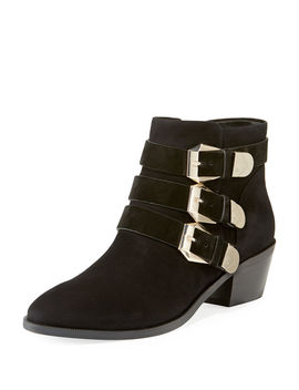 Samantha Suede Buckle Booties by Taryn Rose